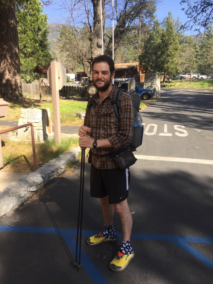 A recent picture of Oscar in California, with his hiking sticks on the Pacific Crest Trail.